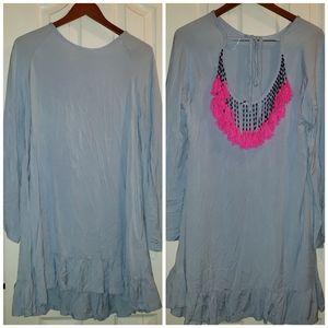 BEADED TASSEL SKY BLUE DRESS